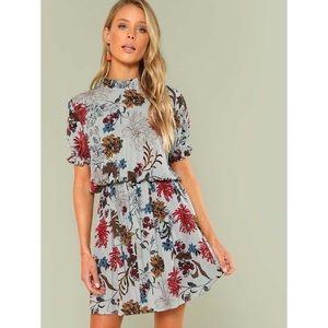 Frill Trim Floral Blouson Dress